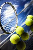 stock photo of slam  - Tennis racket and balls - JPG