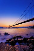 image of tsing ma bridge  - Sunset at Tsing Ma Bridge - JPG