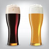 Dark and light beer glasses. Image contains gradient mesh