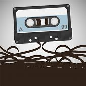pic of magnetic tape  - vector old school flat style audio cassette - JPG
