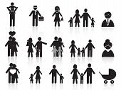 stock photo of mummy  - set of black happy family icons for design - JPG