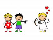 foto of cupid  - Cartoon cupid couple met - JPG