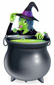 stock photo of witches cauldron  - A cartoon witch saying hello peeking over a bubbling witch - JPG