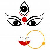pic of navratri  - easy to edit vector illustration of Goddess Durga - JPG
