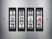 foto of combinations  - Metallic combination lock 2014 New Year - JPG