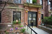 stock photo of brownstone  - Historic Brooklyn town homes  - JPG