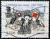 A stamp printed in France dedicated to the liberation of Nazi concentration camps