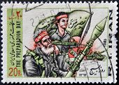 Iran - Circa 1983: A Stamp Printed In Iran Shows The Preparation Day, War, Circa 1983
