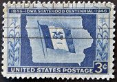 United States - Circa 1946: Stamp Printed By United States, Shows Iowa State Flag And Map