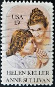United States Of America - Circa 1980 :Stamp Printed In The Usa Shows Helen Keller & Anne Sullivan