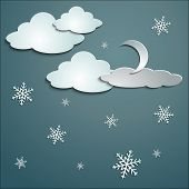 image of snow clouds  - blue sky white snow clouds paper stickers cast shadows winter and moon - JPG