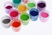 image of pigment  - Colorful pigments powders isolated on white background - JPG