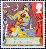 Stamp Shows Scene From Comic Opera, The gondoliers by Gilbert and Sullivan