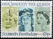 stamp printed in the Great Britain shows Her Majesty the Queen Elizabeth II sixtieth birthday