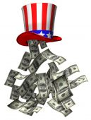 image of uncle  - Isolated illustration of banknotes falling from Uncle Sam hat - JPG