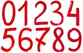 image of arabic numerals  - set of Arabic numerals hand written by red paint on white background - JPG