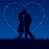 image of enamored  - Two enamored people on the night sky with shining stars - JPG