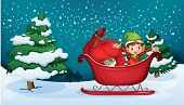 pic of sleigh ride  - Illustration of an elf riding on a sleigh with a sack of gifts - JPG