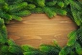 picture of coniferous forest  - Christmas  composition with  fir tree on wooden background - JPG