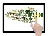 Concept or conceptual abstract nutrition word cloud with a hand on touch screen on white background