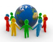 stock photo of holding hands  - Human circle around the globe - JPG