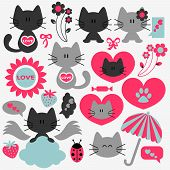 pic of baby cat  - Two cute cats in love set of elements - JPG