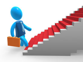 stock photo of follow-up  - Businessman going up the stairs with red carpet - JPG