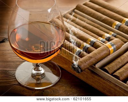 cuban cigar and cognac on wood background