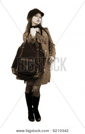 schöne Frau mit einer Tasche