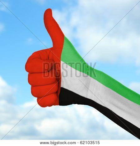 Flag of United Arab Emirates painted on hand