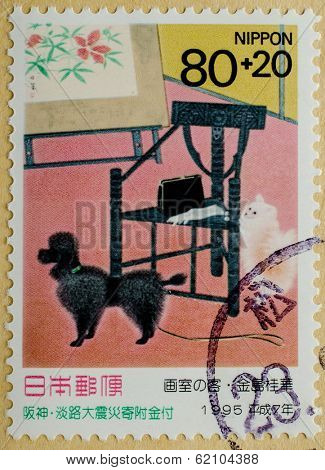 JAPAN - CIRCA 1995: A stamp printed in Japan shows poodle dog, circa 1995