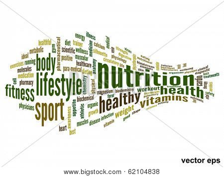 Vector eps concept or conceptual 3D abstract nutrition and health word cloud or wordcloud on white background