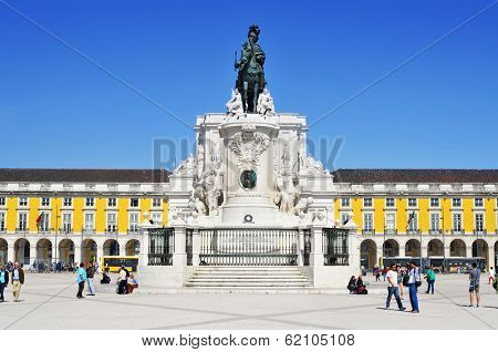 LISBON, PORTUGAL - MARCH 17: View of the Praca do Comercio on March 17, 2014 in Lisbon, Portugal. The square is dominated by the equestrian statue of King Jose I