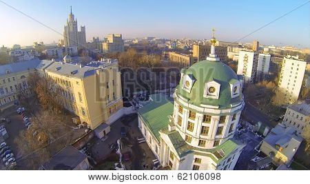Church of St. Simeon and Building on Kotelnicheskaya, Moscow, Russia. Aerial view