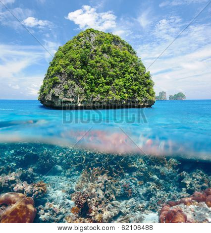 Beautiful uninhabited island in Thailand with coral reef bottom underwater and above water split view