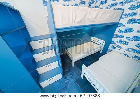 Beautiful modern children bedroom with bunk beds.