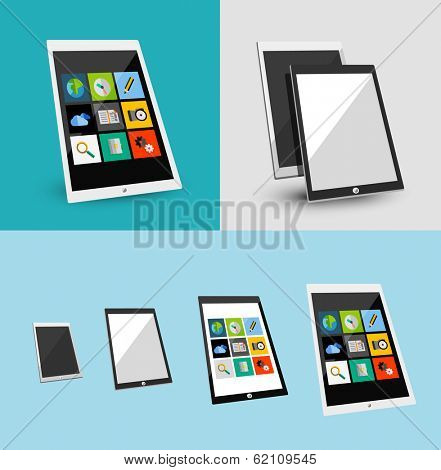 3d tablet responsive flat ui design. Can be used for app presentations, printed support
