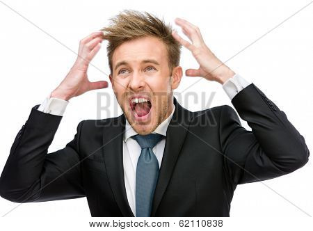 Half-length portrait of businessman putting hands on head and shouting, isolated on white. Concept of headache and high temperature