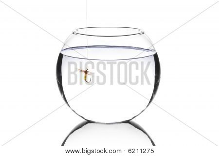 Fish Bowl With A Fishing Hook