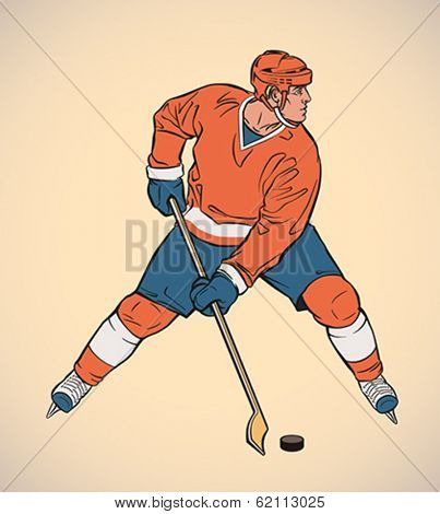Ice hockey player in action. Editable vector illustration.