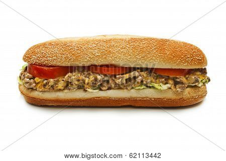 chicken sandwich with cheese, tomato and mayonnaise