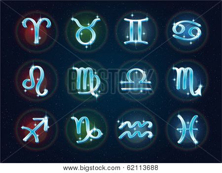 Vector set of zodiac signs on a space backdrop