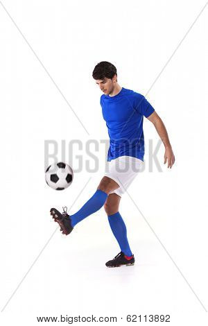 Soccer player with a soccer ball