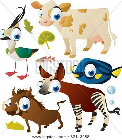 vector animal set: warthog, okapi, fish, cow, lapwing