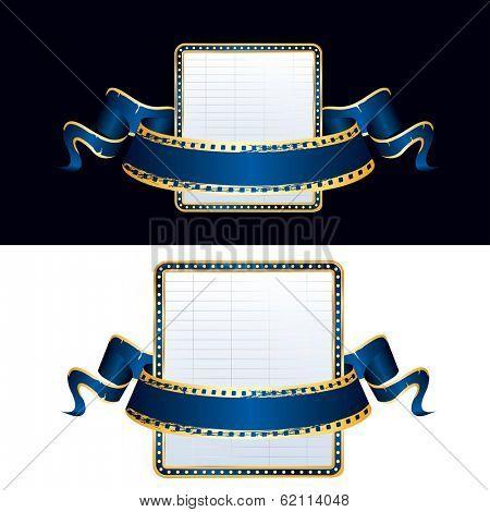 vector empty billboard and blank blue cinema banner