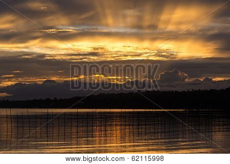 Dramatic tropical sunset in the Samal island, Philippines