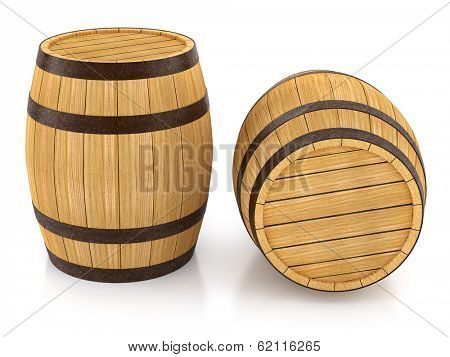 Wooden barrels for wine and beer storage. 3d rendered illustration. Isolated on white background. Clipping path included