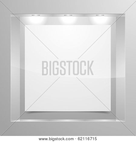 detailed illustration of an exhibition shelf with three lights, eps10 vector