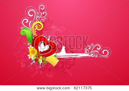 illustration of love couple on abstract valentine background