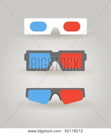 Modern 3d cinema glasses collection